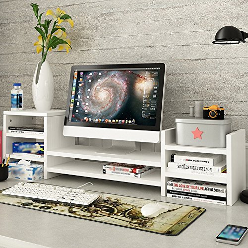 SURRORT LCD-Bildschirm Multilayer Base Multifunktions-Desktop-Speicher Rack Hölzerne Größe 97 * 20 * 28cm ( Farbe : 2# ) - 2