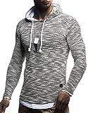 Leif Nelson Herren Kapuzenpullover Slim Fit Baumwolle-Anteil Moderner weißer Herren Hoodie-Sweatshirt-Pulli Langarm Herren schwarzer Pullover-Shirt mit Kapuze LN8179