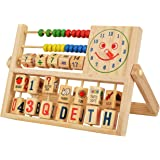 Trinkets & More - Multifunctional Calculation Abacus Flap   Math Toy Counting Addition  Smiling Clock Alphabets Numbers Words