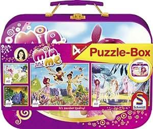 Jouets Schmidt 55988 - Mia & Me, boîte de puzzle, 2 x 60 pièces, 2 x 100 pièces en boîtier métallique(Import Allemagne)