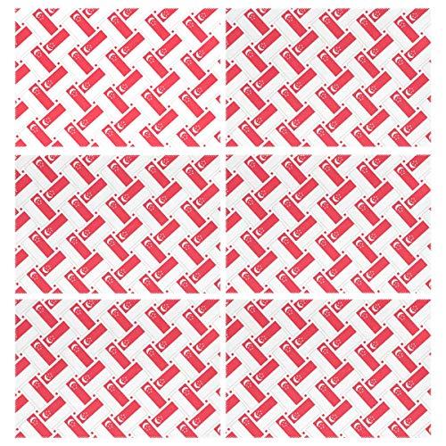 LOIGEIDQ Platzdeckchen 6er-Set Singapur-Flaggengewebe Wärmeisolierung Fleckenabweisend Platzdeckchen für Esstisch Durable gekreuztes Gewebtes Vinyl Küche waschbar Tischmatten Platzdeckchen