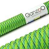 Paracord 550 Seil, 15 Meter, für Armband, Knüpfen von Hundeleine oder Hunde-Halsband zum selber machen / Seil mit 4mm Stärke / Mehrzweck-Seil / Survival-Seil / Parachute Cord belastbar bis 250kg (550lbs), Farbe: hellgrün, blau, Marke Ganzoo