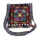 f9ffaa70b Cikuso Bolsa de Hombro étnica Estilo Nacional Chino Vintage Hmong Mensajero  Bolso de Borla Hippie Bohe Bordado