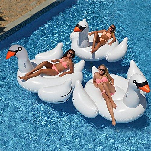 Riesiger Aufblasbarer Schwan Pool Schwimmer - Wishtime HQ17011 Sommer Outdoor Float Insel Ride-on Liege Lilo Pool Party Spielzeug für Kinder und Erwachsene (Weiß)