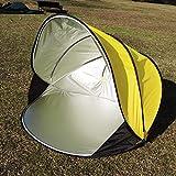 Zhuowei Tent-Z Tenda da Campeggio Tenda da Spiaggia Protezione Solare Conchiglia per 2 Persone | Tenda da Lancio Pop-up,Giallo