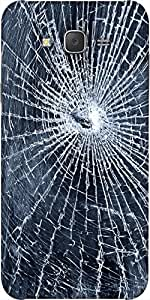 Snoogg Cracked Screen Designer Protective Back Case Cover For Samsung J5