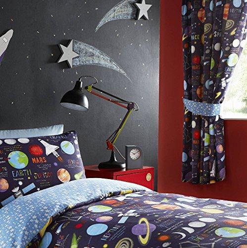 Kidz Club 66 x 182,9 cm planètes prête à rideaux plissés Entièrement doublés Paire, Noir