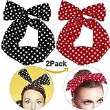 Boolavard Retro Bowknot Polka Dot Wire Head Arcos diadema sujetador de pelo para mujeres niñas (Negro y Rojo - Paquete de 2)