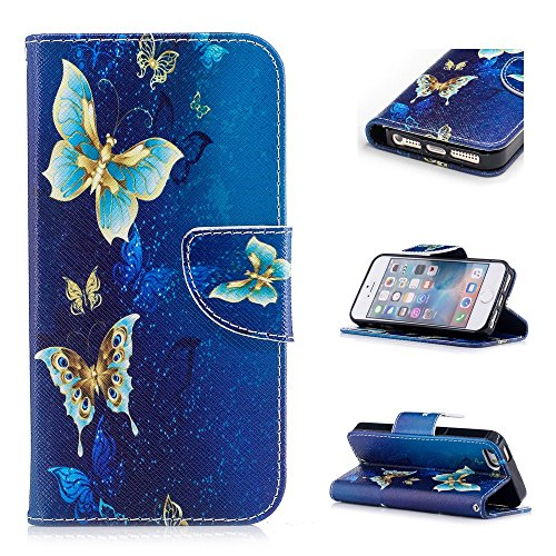 Custodia per iPhone SE / iPhone 5S / iPhone 5, Hancda Modello Elegante Disegni Cover Funzione Stand Custodia in Pelle Portafoglio di Cuoio Libro Sottile Flip Case Protettiva Chiusura Magnetica Antiurt Farfalla blu oro