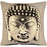 "Ideal Textiles, Buddha Head Vintage Jacquard Cushion Cover, Machine Washable, 18"" x 18"" 45cm x 45cm, Brown"