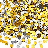 TecUnite 3.5 oz Coriandoli d'Argento e Oro Confetti Glitter Cerchio 1/ 4 Pollici Coriandoli di Punti Metallici per Compleanno Matrimonio Vacanza Festa Decorazione Fornitura