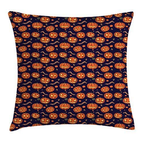 Pumpkin Throw Pillow Cushion Cover, Halloween Themed Celebratory Banners Trick or Treat and Carved Pumpkins, Decorative Square Accent Pillow Case, 18 X 18 Inches, Indigo Orange ()