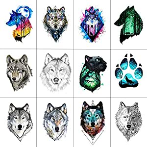 5a956d66a ... Funwood Games 12-Pieces Waterproof Wolf Temporary Tattoo Sticker for  Men and Women