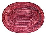 Bast Platzset oval ca. 35x50 cm Kunststoff Tischset Untersetzer waschbar in Bordeaux Rot meliert