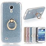 Für Samsung Galaxy S4 Mini Hülle, Pheant® Schutzhülle mit Ständer Ring [Durchsichtige Handyhülle + Glitzer Papier in Blau]