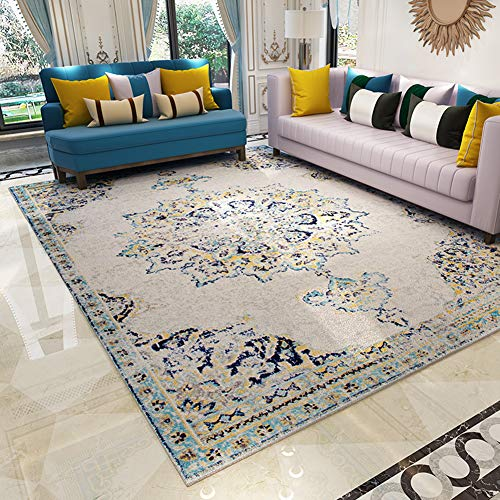 Wohnzimmer matte,Area Rug, Edles Medaillon Persische Blumen Orientalische Formale Traditionelle Flächenteppich Leicht zu reinigender Moderner Zeitgenössischer Weicher teppich, Gray blue, 80*120cm