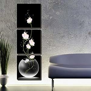 Art De Toile 3 Piece Fond Noir Peinture Sur Toile De Fleur