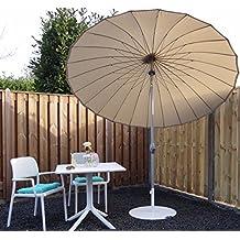 Parasol sombrilla | Beige / Arena | Ø 260 cm | Redondo | SORARA | SHANGHAI | Poliéster de 180 g/m² (UV 50+) | Mecanismo de péndulo y manivela (excl. base)