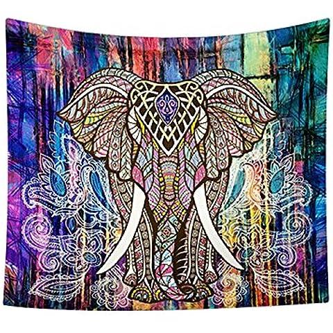 Boho indio elefante tapiz de color Impreso decorativo Mandala Tapestry, rojo rosado (A(150cmx130cm))