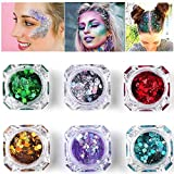 Purpurina cosmética de maquillaje para cuerpo cara pelo y uñas – 6 cajas de pigmentos gruesos de purpurina suelta para festivales y FIESTAS DE NAVIDAD – SÓLO INCLUYE LA PURPURINA