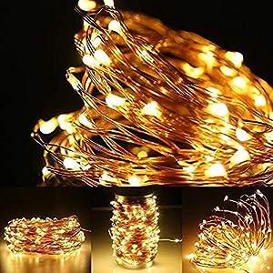10M 100er Solar Lichterketten wasserdichte IP65 LED Lichterkette Draht mit Schalter, Dapei Stimmungslichter Lichterkette für Zimmer, Weihnachten, Party, Hochzeit, Außen und Innen Deko. Warmweiß