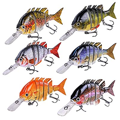 INHDBOX Multi Jointed Fishing Life-like Hard Lure Bass Bait Swimbait Minnow Crank Shad Herring Bass Pike Muskie from INHDBOX