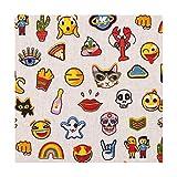Tissu coton enduit funny badges & emojis - Multicolore - Largeur 160 cm- Longueur au choix par 50cm