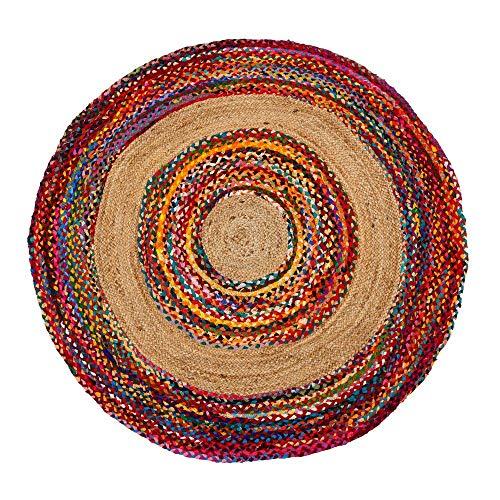 Alfombra Redonda de Rafia Beige étnica para salón de 150 cm Iris - LOLAhome