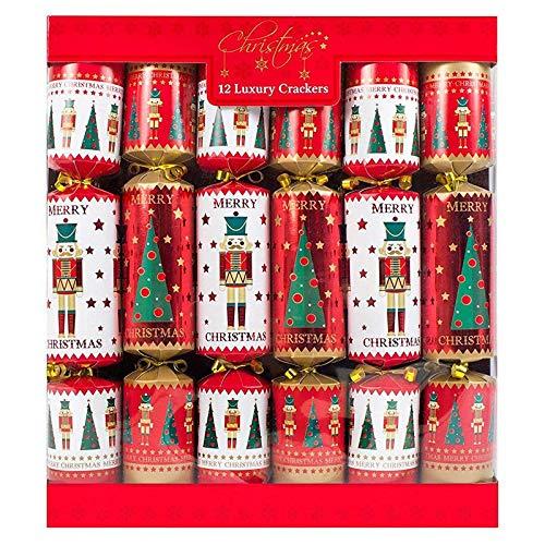 Christmas Crackers - 12 Pack für Weihnachten | original britische Cracker (rot)