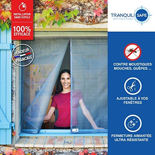Zanzariera regolabile magnetica tranquilisafe® per finestra standard e su misura - protezione antizanzare e antimosche - zanzariera automatica (l 120/136 - a 125/133)
