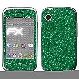 atFolix Skin kompatibel mit Wiko Ozzy, Designfolie Sticker (FX-Glitter-Green-Mile), Reflektierende Glitzerfolie