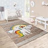 Paco Home Kinderteppich Kinderzimmer Herzen Regenbogen Einhorn Konturenschnitt Beige Weiß, Grösse:80x150 cm