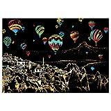 SPARKZ Tablero de Dibujo de Rayado de Bricolaje, Manualidades Arte Pintura mágica Papel de Color Postal raspado Graffiti rasguño Juguete de Regalo Conjunto de 5 Herramientas,hotairballoon
