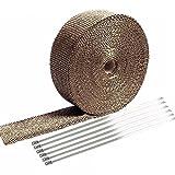 E Support 5CM X 5M Fiberglas Roll Titan Lava Racing Abgaskrümmer Rohr Wrap Band Exhaust Insulating Tape + 6 Krawatten