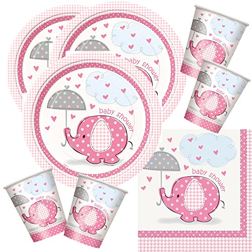 48-teiliges Party Set Baby Elefant rosa - Babyparty - Teller, Becher, Servietten für 16 Personen