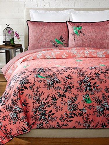 Nanette Lepore Villa Porzellan 3-teilig Botanical Bettbezug-Set, Queen, Coral (Duvet Shabby Queen Chic)