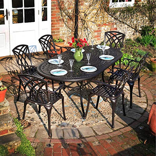 Lazy Susan Furniture - Catherine 210 x 105 cm Oval 6 Seater Cast Aluminium Garden Set - Antique Bronze (Emma chairs)