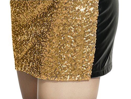 Lotus Instyle Damen Kunstleder Rock vorne mit Pailletten Mini Rock Gold