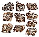 Hashcart Holzprägestempel für Blockdruck, handgeschnitzte Druckmuster für Stoffränder, Henna- und Textildruck, Scrapbooking, Töpferhandwerk und Wandverzierungen, multi, Set # 3001