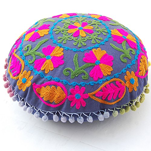 Pom Pom Uzbek Traditional Suzani Embroidery Round Cushion Covers round 16''