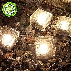 Lámpara solar de cristal para jardines, patios, piscinas, estanques y decoración al aire libre, 4 unidades