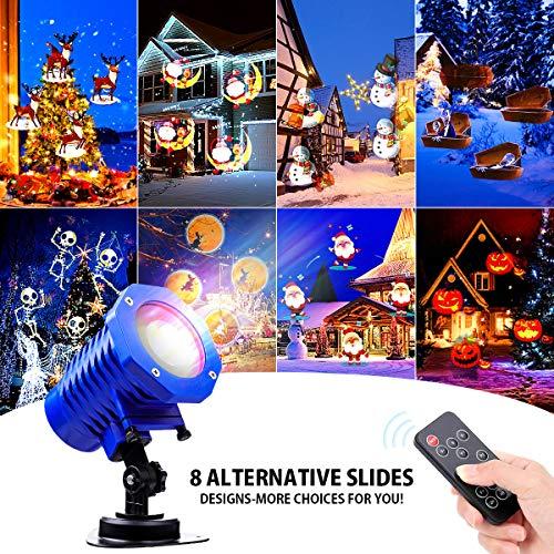 LED Effektlicht,Tvird Weihnachten LED Projektor Lichter,Licht Projektor mit 16 Wechselbaren Musters und Fernbedienung, 2/4/6 Stunden Timerdynamisch/Statisch, IP65 Wasserdicht Projektionslampe