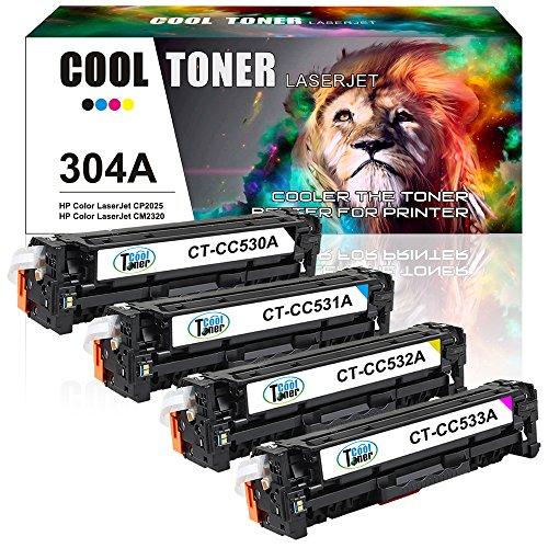 Cool Toner 4 Packs kompatibel toner fuer CC530A CC531A CC532A CC533A 304A fuer HP Color LaserJet CP2025 CP2025N CP2025DN CM2320 CM2320N MFP CM2320NF MFP CM2320FXI MFP CP 2025 CM 2320 FXI NF MFP Toner Drucker Schwarz (Hp Toner Cc530a)