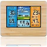 Houkiper Digital färgprognos väderstation med varningstemperatur/luftfuktighet/barometer/larm/väderklocka, trådlös väderstati