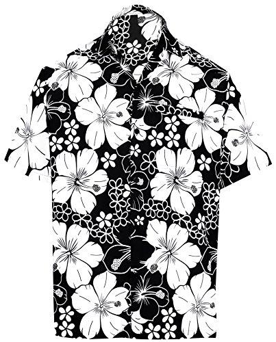 Herren Seide Lager T-shirt (LA LEELA | Funky Hawaiihemd | Herren | Kurzarm | Front-Tasche | Hawaii-Print | Strand Hibiskus Blumen Gedruckt Schwarz_W299 XL - Brustumfang (in cms) : 121-132)