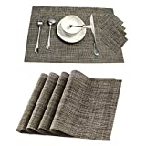 Placemats and Coaster Sets of 6, Pauwer Woven Vinyl Placemat Non Slip WashableTable Mats Heat Resistant Table Place Mats (Coffee)