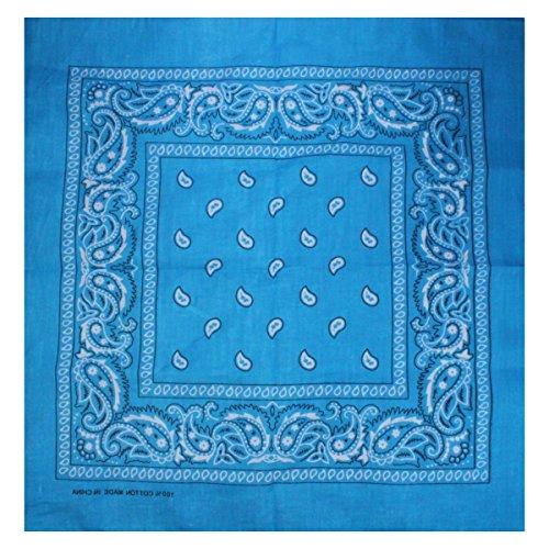 Bandana avec Motif Paisley en 50 Couleur differentes 100% coton Turquoise
