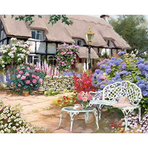 ELGDX Rahmenlose Gartenhaus-Landschafts-DIY-Malerei durch Zahlen Bild auf Wand handgemaltes...