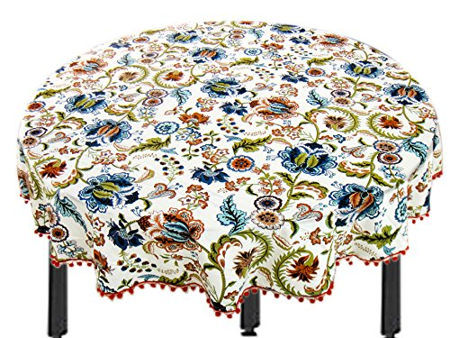 Miyanbazaz Textiles100% Cotton Multi Flower fringe Round Table Cover / Tablecloth /...