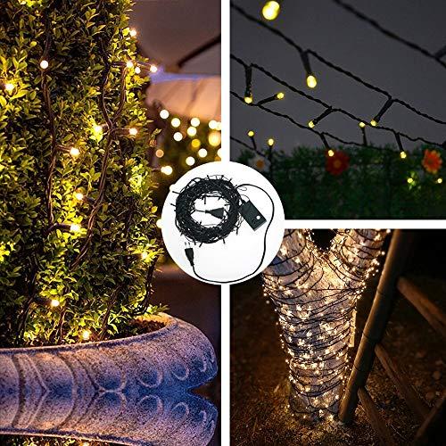 100 LED Guirlande lumineuse IP44 étanche blanc chaud/froid 8M Lumières pr Fête de Noël Jardin Chambre Terrasse – Prise UE – Fil de cuivre, enduit de PVC vert foncé imperméable (Blanc chaud)